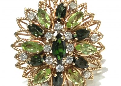Antique Cocktail Ring Peridot Tourmaline Diamonds