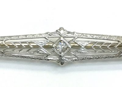 Antique White Gold Bar Pin