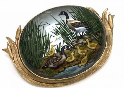Vintage Reverse Painting Brooch Family of Geese Framed Yellow Gold sold