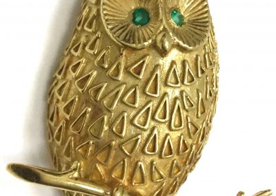 Vintage Yellow Gold Owl Brooch Emerald Eyes sold