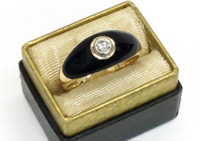 Antique Black Enamel Yellow Gold Ring w/ Diamond