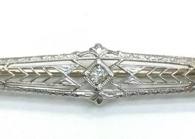 Antique White Gold Bar Pin