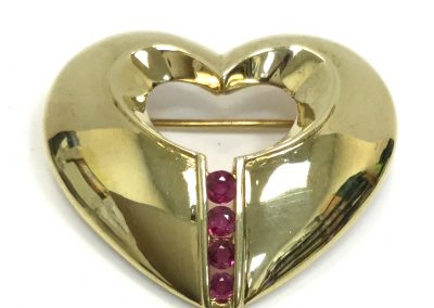 Estate Yellow Gold & Ruby Heart Brooch