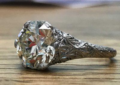 Stunning 3.33ct European Cut Diamond Platinum Ring