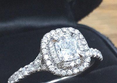 Tiffany & Co Double Halo Platinum Diamond Engagement Ring.