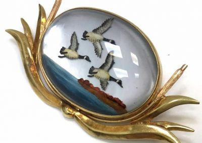 Vintage Reverse Painting Brooch Flying Geese Gold Frame sold