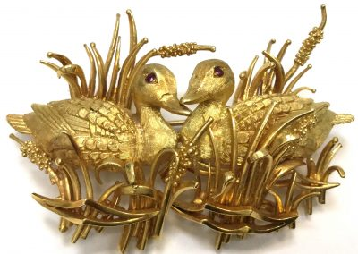 Vintage Yellow Gold Duck Brooch w/Ruby Eyes sold
