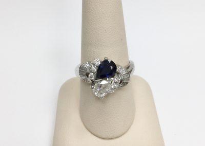 14k White Gold Diamond Blue Sapphire Ring